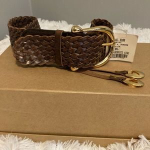 Michael Kors Brown Braided Leather Belt w/ Charms